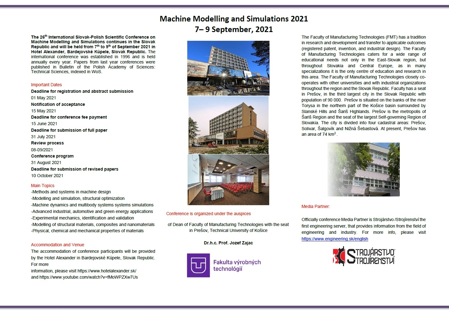 Machine Modelling and Simulations 2021