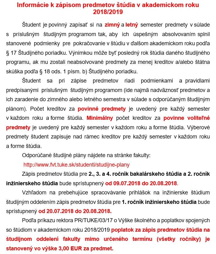 Informácie k zápisom predmetov štúdia v akademickom roku 2018/2019